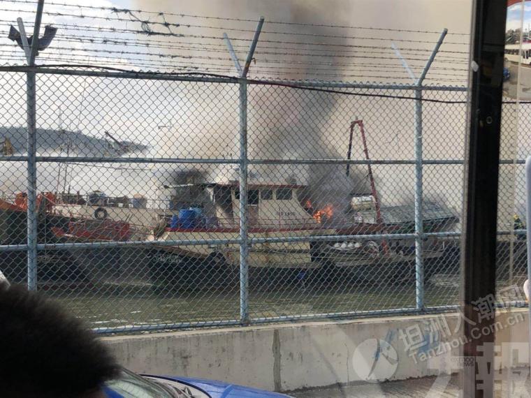 澳门兩漁突然起火,冒出陣陣濃煙