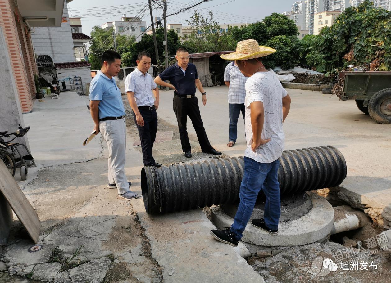 坦洲鎮副鎮長帶隊視察東灌河沿岸截污管網工程推進情況