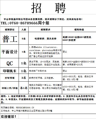坦洲锐晟印刷有限公司招聘:普工、平面设计、QC等职位