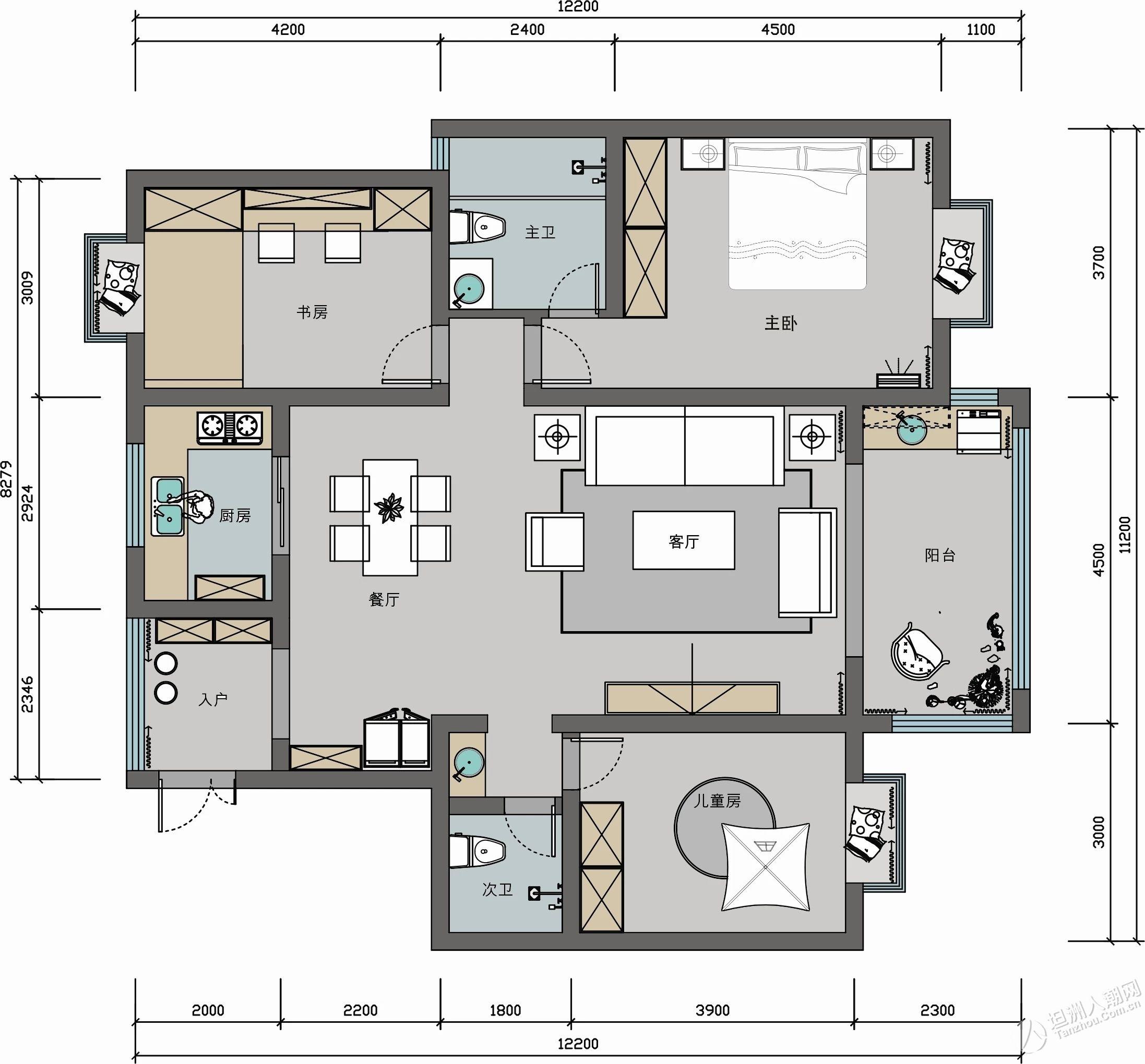 128㎡美式三居室,灰色和粉色完美结合,浪漫又充满温情的家!