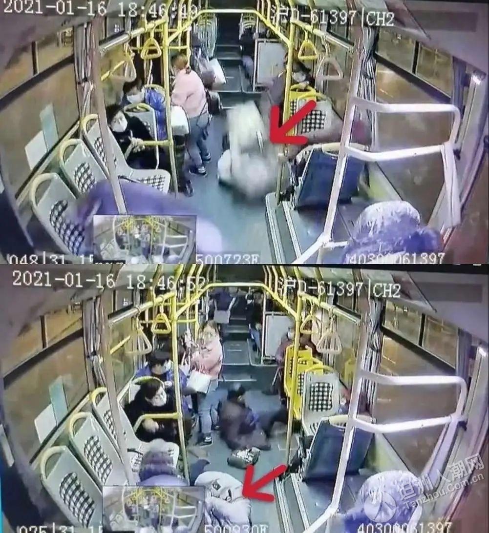 公交车急刹车,女乘客被甩出2米不幸身亡!现场视频揪心