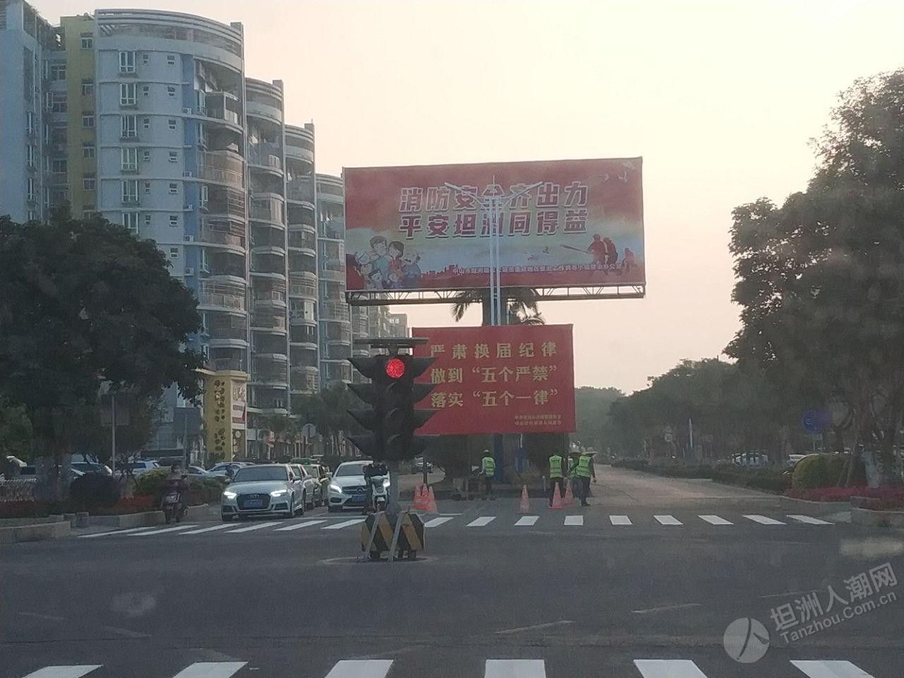 坦洲政府十字路口,斑马线画好了!