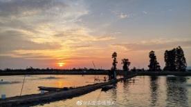 在坦洲裕洲村看夕阳西下