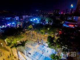 航拍:坦洲村居篮球总决赛之夜